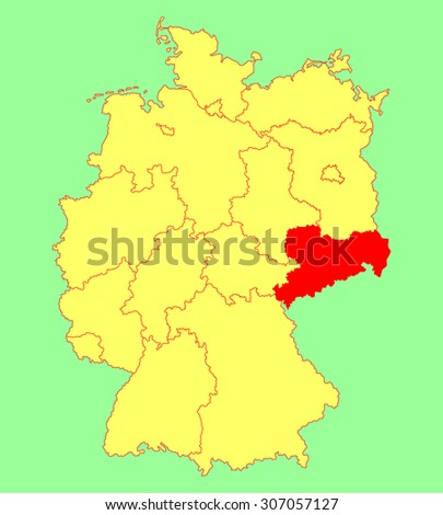 Sachsen map, Saxony state map, Germany, vector map silhouette illustration isolated on Germany map. Editable blank vector map of Germany. Province in Germany. - stock vector
