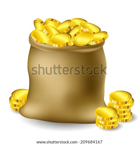 Sack full with gold coins - stock vector