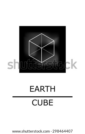Sacred geometry - platonic solids - five elements - earth, cube - stock vector - stock vector