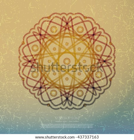 Sacred geometry symbol. Decorative grunge background with sacred geometry symbols and elements.  Sacred religion background. Sacred geometry vector. Sacred geometry illustration. Vector illustration - stock vector