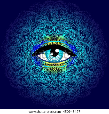 Sacred geometry symbol with all seeing eye in acid colors. Mystic, alchemy, occult concept. Design for indie music cover, t-shirt print, psychedelic poster, flyer. Astrology, esoteric, religion.  - stock vector