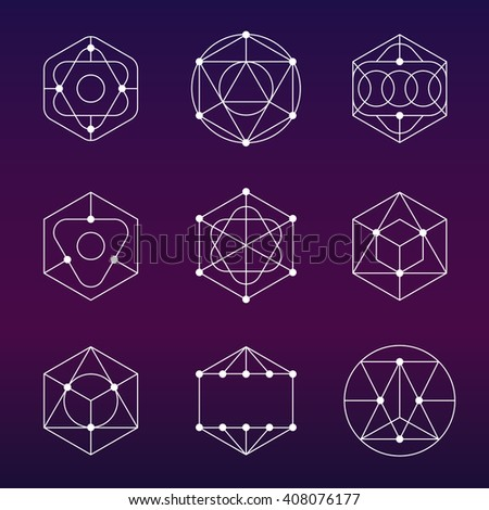 Sacred geometry vector set - stock vector