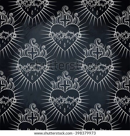 Sacred Heart of Jesus. Seamless pattern. Vector illustration. Trendy Vintage style element. Wrapping paper, religion, Christianity, philosophy, spirituality, alchemy, magic, love. Design tattoo art. - stock vector