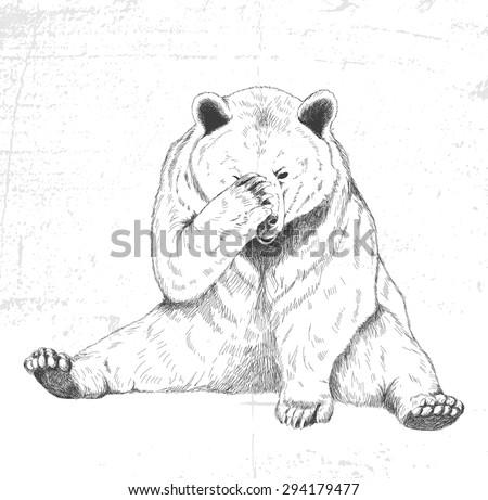 Sad bear. Sketch. Handmade. - stock vector