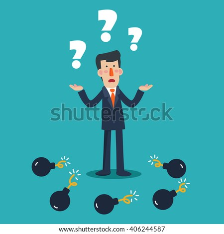 Sad business man with question mark standings between bombs. Businessman in risk vector concept illustration - stock vector