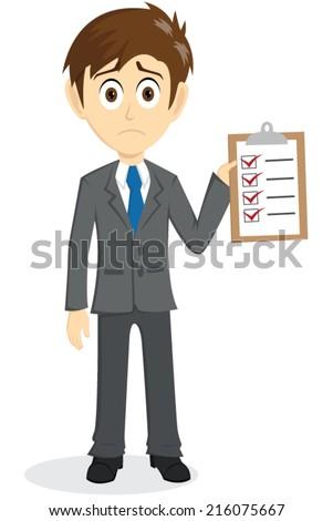 Sad Businessman Explain With Clipboard And Checklist - stock vector