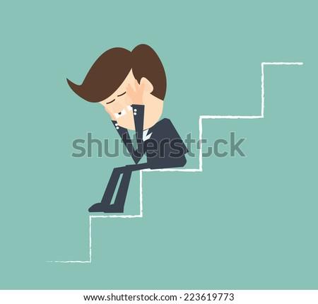 sad businessman on stairs - Economic downturn - stock vector