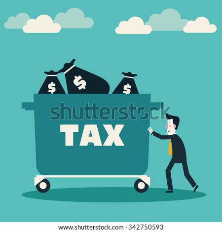Sad businessman pushing hand truck with taxes. Tax time and taxpayer finance concept - stock vector