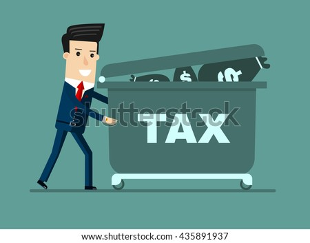 Sad businessman pushing hand truck with taxes. Tax time and taxpayer finance concept. Vector - stock vector