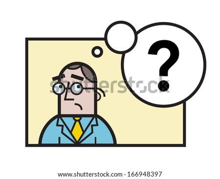 Sad businessman questions - stock vector