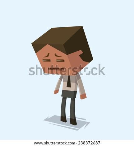 Sad Businessman, vector - stock vector