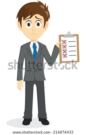 Sad Businessman With Incomplete Check List - stock vector