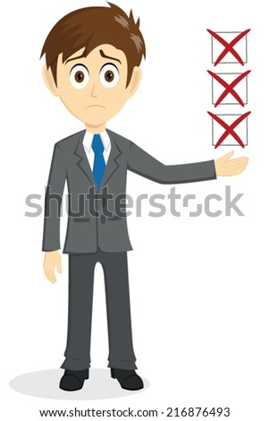 Sad Businessman With Incomplete Floating Of Check List - stock vector