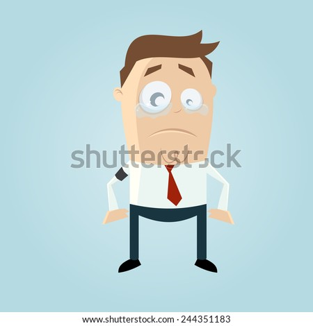 sad businessman with mourning armband - stock vector