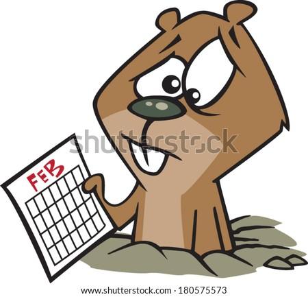 sad cartoon groundhog looking at a calendar - stock vector