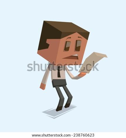 Sad Cube businessman reading letter, vector - stock vector