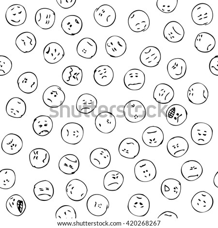 Sad faces seamless pattern, doodle. Negative emotions doodle faces. Doodle sad and angry smiles. Different negative emoticons Hand drawn doodle seamless pattern, sad faces, emotions. Black pen, pencil - stock vector