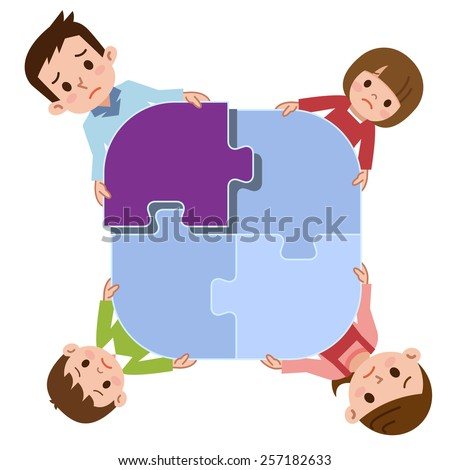 Sad family - stock vector