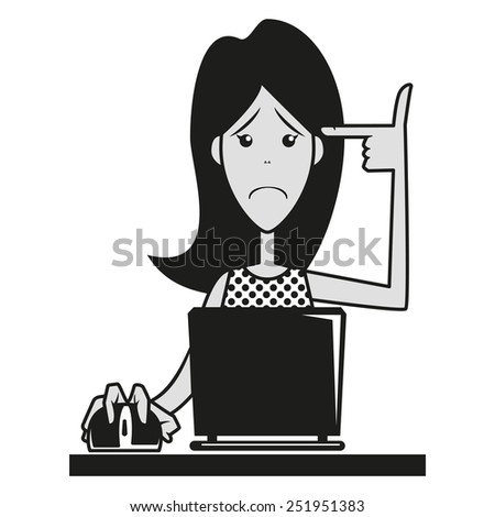 Sad girl, internet hazards, vector illustration - stock vector