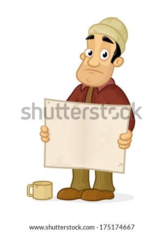 Sad homeless man holding blank board vector cartoon illustration - stock vector