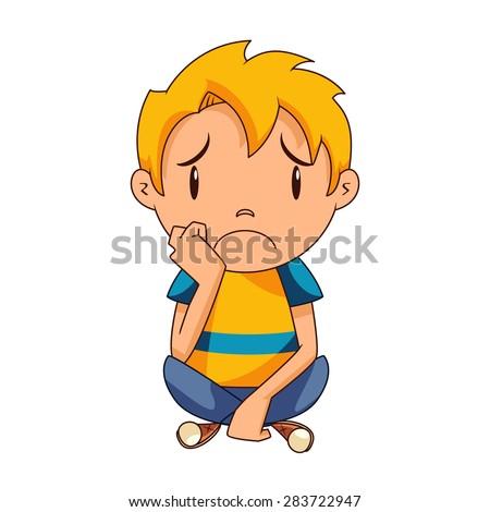 Sad kid, vector - stock vector