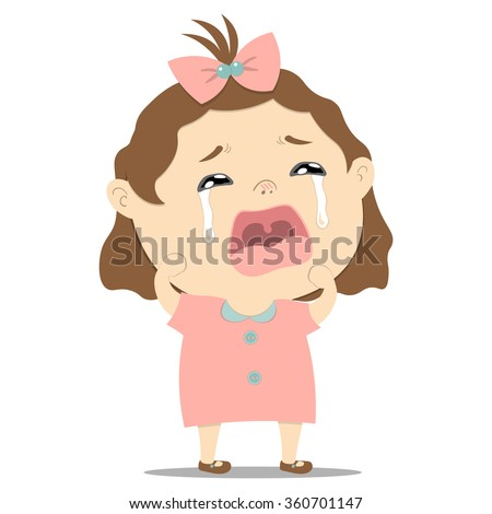 sad little cute baby girl crying on white background vector illustration - stock vector