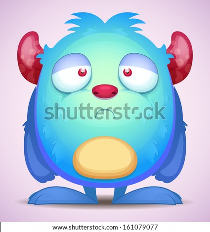 Sad Monster - stock vector
