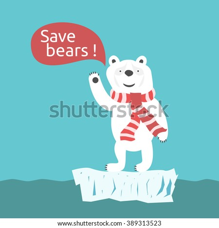 Sad smiling toy white polar bear with speech bubble. Environment, nature, animal, global warming and ecology concept. EPS 8 vector illustration, no transparency - stock vector