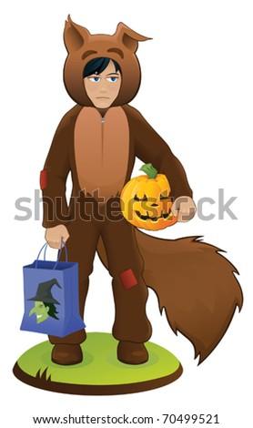 Sad Squirrel Costume Boy - vector - stock vector