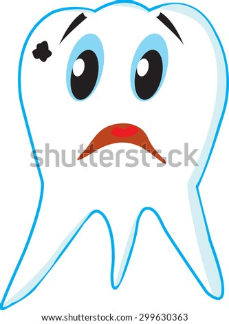 sad tooth caries on white background - stock vector