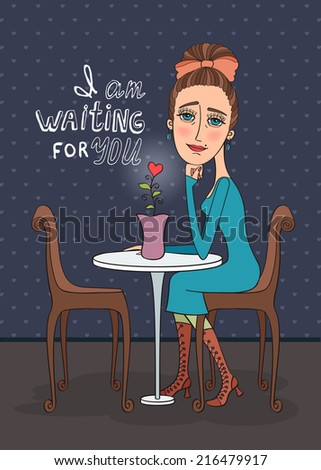 Sad woman is waiting in a cafe. Vector illustration. - stock vector
