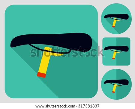 Saddle icon. Bike parts. Flat long shadow design. Bicycle icons series. - stock vector