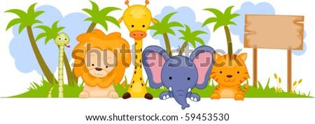 Safari Animal Banner - Vector - stock vector