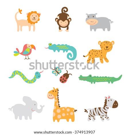 Safari Animals Clipart  - stock vector