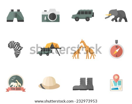 Safari icons in flat colors style. - stock vector