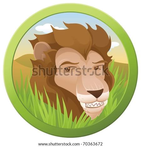Safari Lion - vector - stock vector