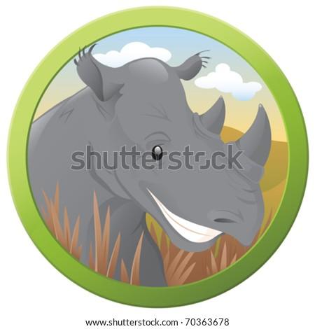 Safari Rhino - vector - stock vector