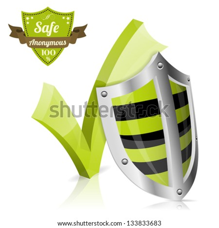 Safe & Anonymous Concept with Shield, Check Mark and Quality Label, vector icon isolated on white background - stock vector