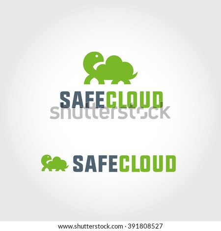 Safe Cloud Simple Symbol For Data Storage Co, Wireless Network Mobile Service etc. Turtle Shell Represents the Idea of Protection, Durability, Hosting, Backup etc. Memorable Visual Metaphor - stock vector