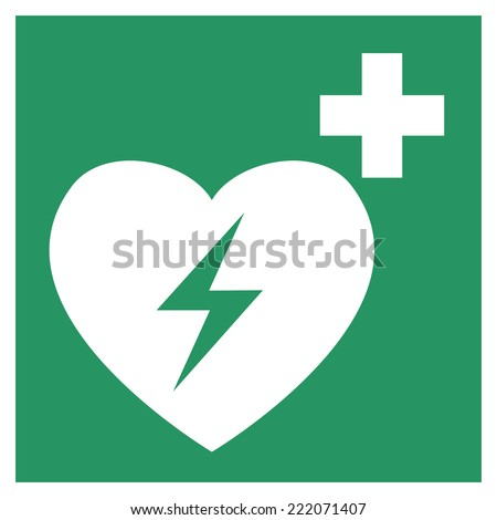 Safe condition sign,Automated heart defibrillator - stock vector