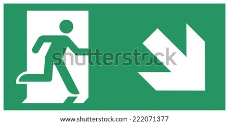 Safe condition sign,Emergency exit direction downward - stock vector