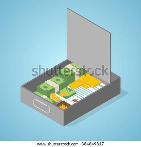 Safe deposit box full of money, gold, coins, papers, documents. Isometric vector illustration.  - stock vector