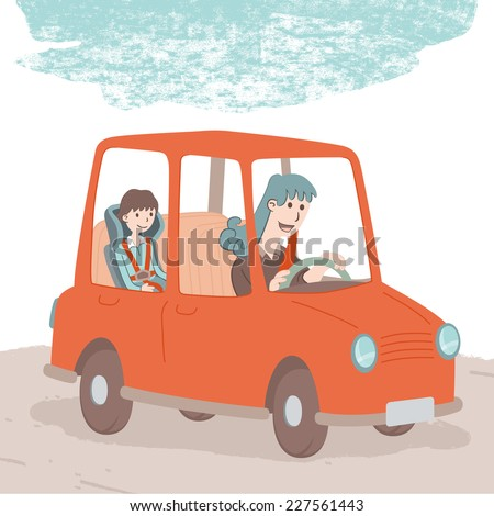 Safe driving. A mother carries her child in the car. Both have safety belt properly positioned. EPS10 file. - stock vector