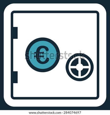Safe from BiColor Euro Banking Icon Set. Vector style: flat bicolor, blue and white symbol, rounded angles, dark blue background. - stock vector