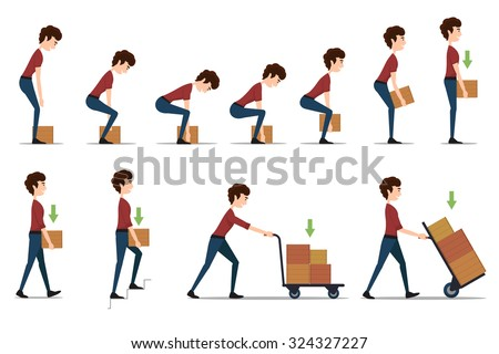 Safe handling and transportation of heavy items. Box and man, cargo and worker, delivery cardboard, distribution and weight, vector illustration - stock vector