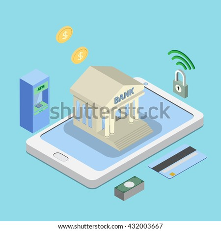 safe online or internet banking, e banking concepts. 3D bank building on smart phone isometric view - stock vector