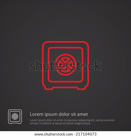 safe outline thin symbol, red on dark background, logo editable, creative template - stock vector