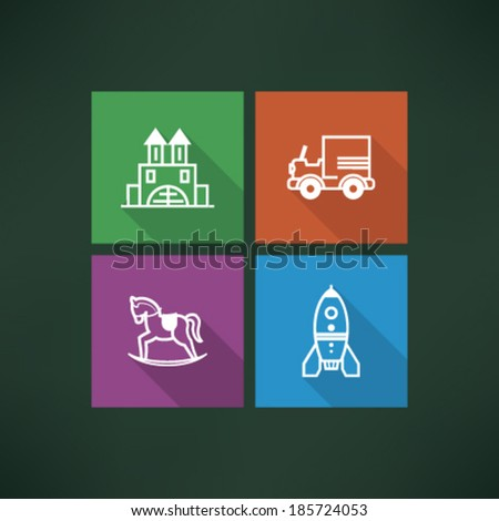 Safe playtime: Kids toys, pictured here from left to right, top to bottom - Blocks, Car, Rocking horse, Space rocket.  - stock vector