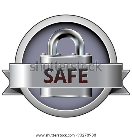 Safe vector button on stainless steel lock background - stock vector