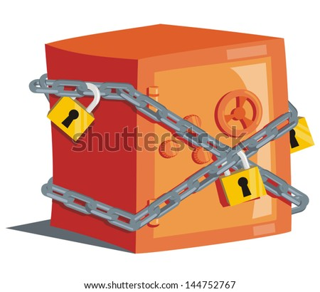 Safe with locks - stock vector